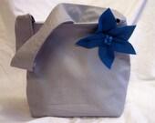 Grey Purse with Blue Felt Flower