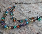 Multi gemstone necklace, fringe necklace, statement necklace sterling silver, Tourmaline, Citrine, Garnet, Kyanite Apatite Peridot Amethyst