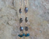 LABRADORITE earrings, Labradorite and APATITE earrings, 14k gold filled