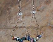 TITANIUM druzy earrings, titanium drusy earrings with blue TOPAZ, Druzy jewelry