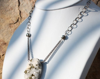 Quartz DRUZY necklace with PYRITE crystals, drusy necklace, sterling silver, Druzy jewelry