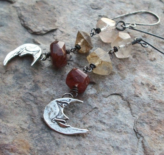 RUTILATED Quartz earrings and Moon earrings, with sterling moon charms , oxidized sterling silver earrings, AUTUMN Moon