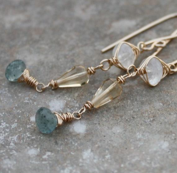 Moss Aquamarine earrings, with Moonstone, Citrine, 14k gold filled, gold woven earrings