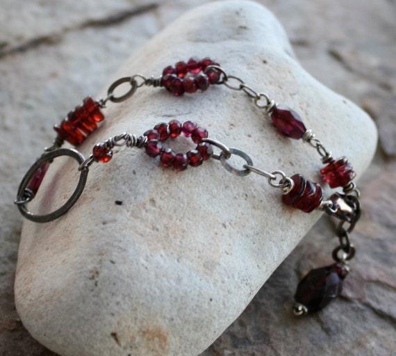 GARNET bracelet, JANUARY birthstone bracelet, Garnet silver bracelet
