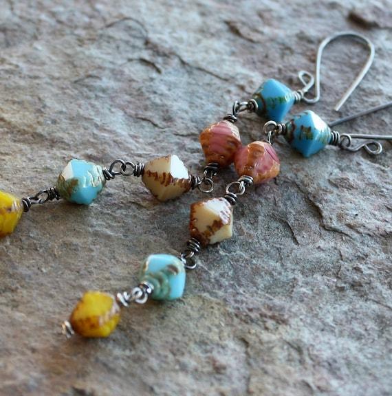 PASTEL color glass earrings, Czech glass earrings, SHOULDER Dusters, sterling silver