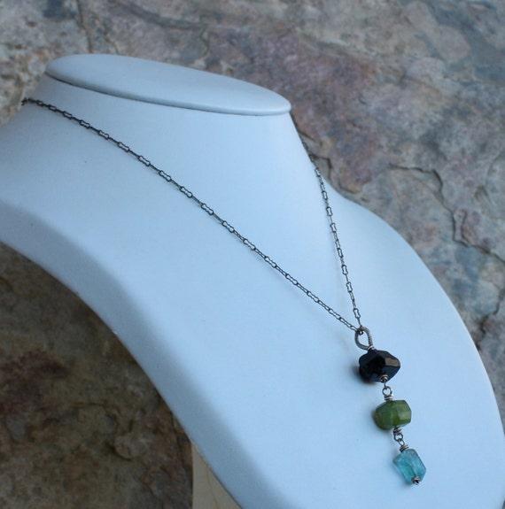 Black TOURMALINE, VESUVIANITE, and APATITE nugget necklace, oxidized sterling silver