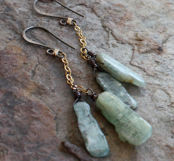 GREEN KYANITE earrings, mixed metals, silver and gold filled, Rustic
