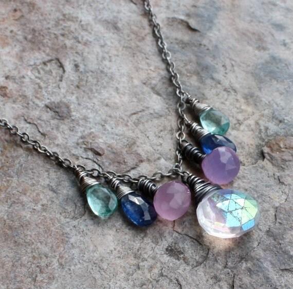Multi GEMSTONE necklace, multi gemstone necklace,  mystic Quartz, Kyanite, Apatite, Chalcedony sterling silver