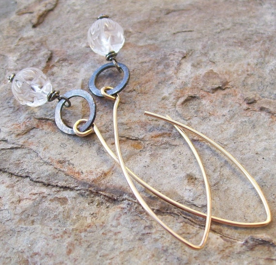 QUARTZ Crystal LOTUS flower earrings, MIXED Metals with oxidized sterling silver