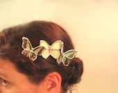 Three Real Butterflies Bridal Hair Comb
