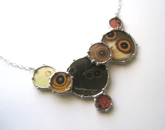 Statement Necklace - Real Butterfly Eye Spots