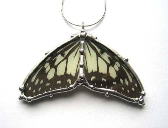 Black and White Butterfly Wings Necklace