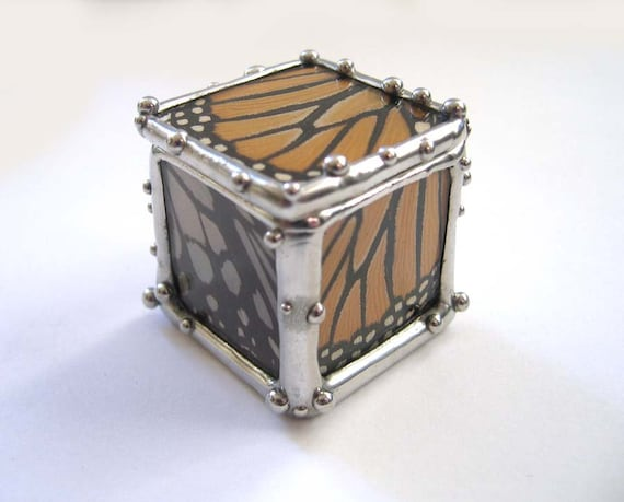 Tiny  Real Butterfly Wing Box - Monarch