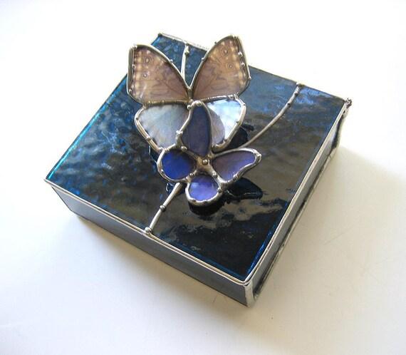 Stained Glass Box - Little Blue Morpho Buterflies Landing