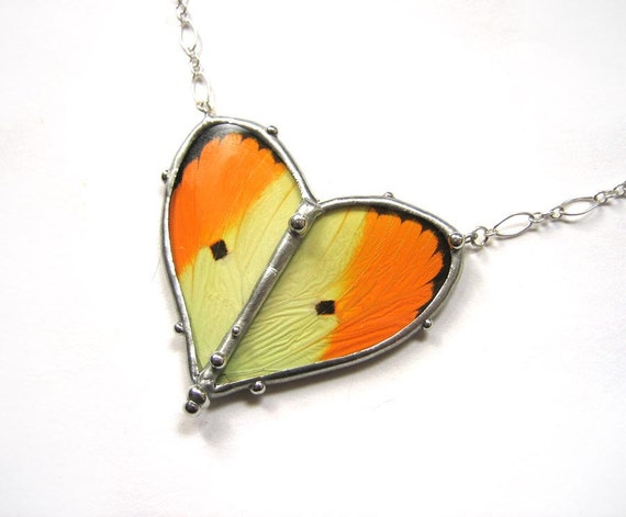 Valentine's Day Heart Jewelry - Real Yellow Butterfly Heart Necklace