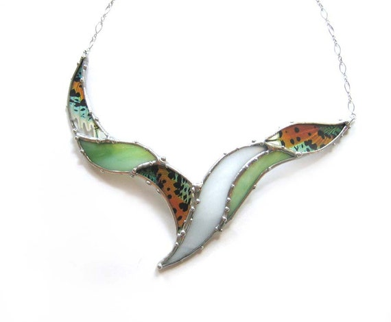 Statement Necklace - Real Sunset Moth and Stained Glass