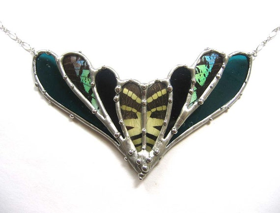 Bloom - Statement Necklace - Real Butterfly and Moth and Stained Glass