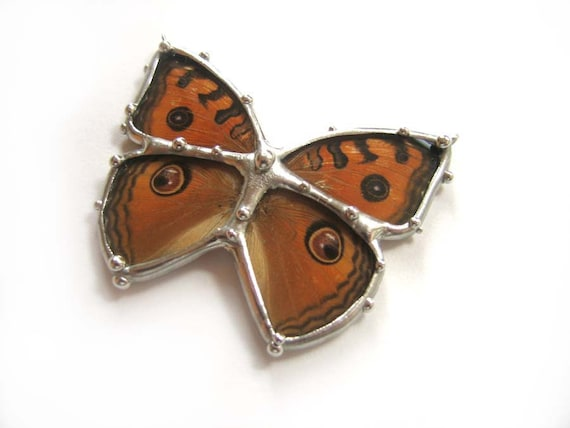 Buckeye Butterfly Necklace, made with Real Butterfly Wings and Hand Cut Glass - Butterfly Jewlelry Inspired by Nature
