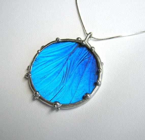 Morpho Butterfly Circle Necklace