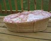 OOAK Pink Dogwood Moses Basket 6 pcs ULTIMATE NEW MOM GIFT