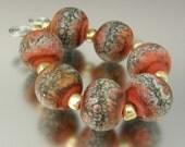 KILLERBEEDZ1 - Red/Orange Marbled - 6 Etched Round Lampwork Bead Set