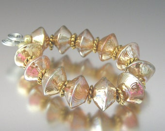 Lampwork Bead Bicones - Bright Gold Sparklers (12) Handmade Beads