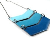 Ombre Triple Chevron Statement Necklace - Enameled Copper and Sterling Silver