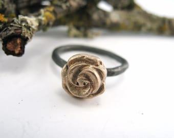 Golden Rose Ring - Hand Cast in Bronze