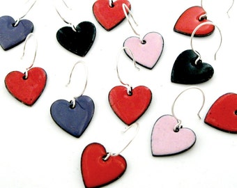 Valentine Heart Earrings - Sterling Silver and Enameled Copper