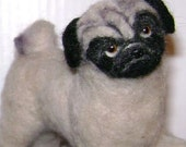 Pug, ooak felted dog by Corky for your doll