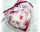 Heart Door Hanger Pink Crazy Quilt