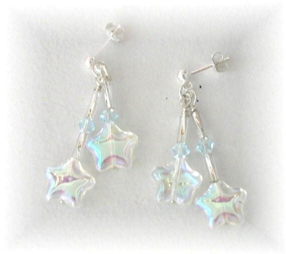 Post Star Earrings Sterling Silver Dangle Earrings