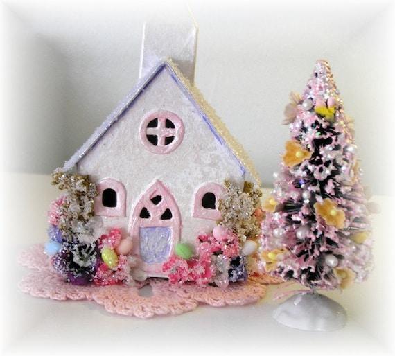 Easter Village Putz House Church