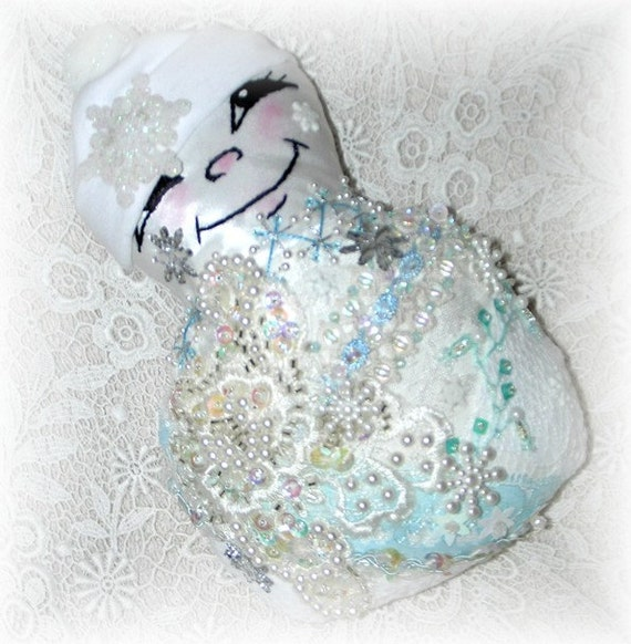 Snowman Doll Embroidered Crazy Quilt