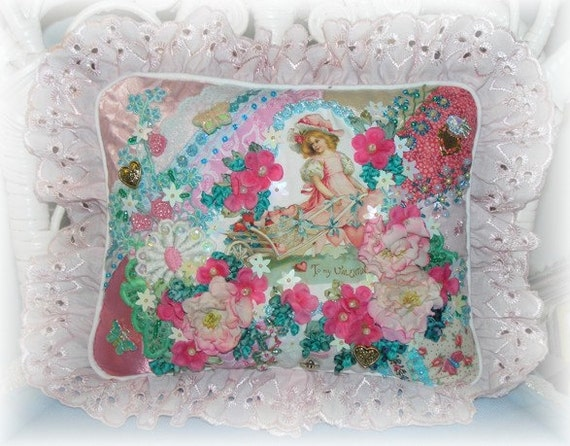 RESERVED LISTING for MAE Crazy Quilt Pillow, Valentines Day, Pink, Aqua, Hand Embroidered