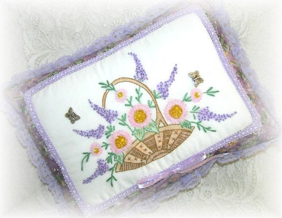 Pillow Hand Embroidered Decorative Basket of Flowers Purple