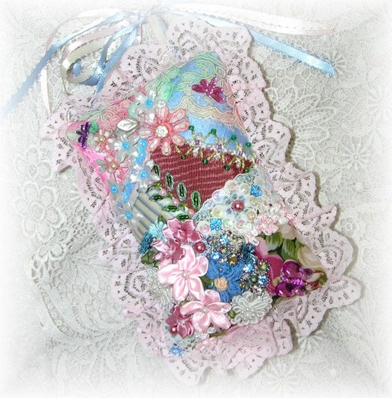 Small Lace Pillow Ornament for Hanging Crazy Quilt