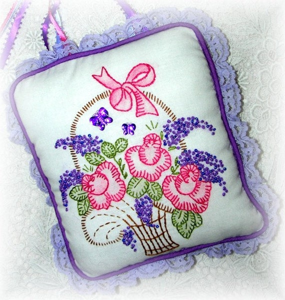 Hanging Pillow Hand Embroidered Home Decor Roses Lilacs