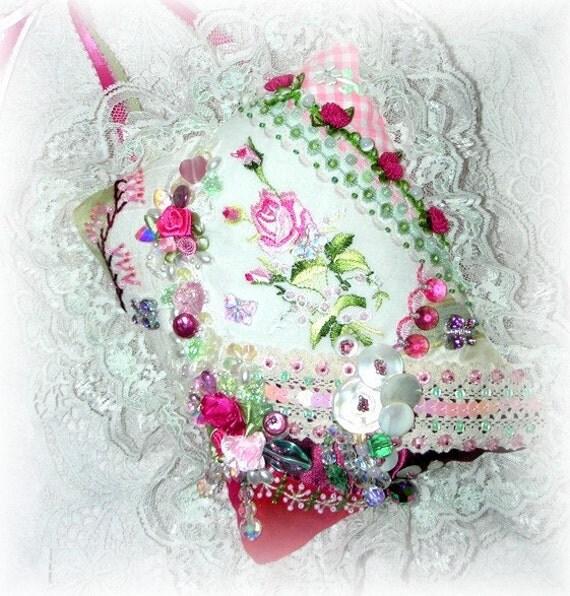 RESERVED ITEM for MAE Pink Crazy Quilt Door Hanger with Rose