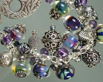 Boro Borosilicate Lampwork Sterling Silver Bracelet