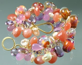 FINAL SALE * 50% off * SALE * Statement Bracelet - Boro Lampwork Glass Beads- Amethyst - Pink Chalcedony - Peach Moonstone - Pearls - Gold