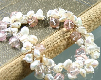 Winter Romance Bracelet - White Keishi Pearls - Light Pink Quartz