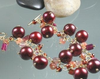 Bracelet - Pink Tourmaline - Sunstone - Merlot Pearls - Garnet - Gold