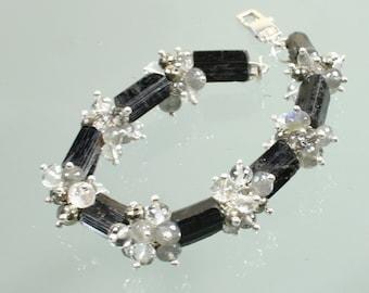 black tourmaline - rutilated quartz - pyrite - labradorite - crystal quartz - sterling silver contemporary bracelet