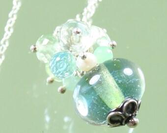 FINAL SALE * 50% off * SALE * necklace - lampwork glass bead - chrysoprase- blue topaz - prehnite - pearls - green amethyst -sterling silver