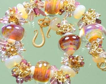 Bracelet - Boro Borosilicate Lampwork Glass Beads - Pink Amethyst -  Pink Tourmaline - Opal - Rubelite Garnet - Citrine - Gold Vermeil