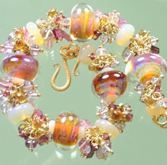 FINAL SALE * 50% off * SALE * Bracelet * Pink Amethyst * Pink Tourmaline * Opal * Rubelite Garnet * Citrine * Gold * Lampwork beads