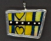 SOLDERED ART PENDANT--Yellow Mini Heart Recycled China Plate Painting.