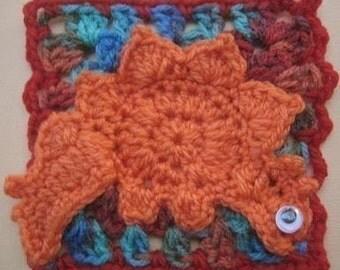 Stegosaurus Dinosaur Square rugalugs crochet pattern.