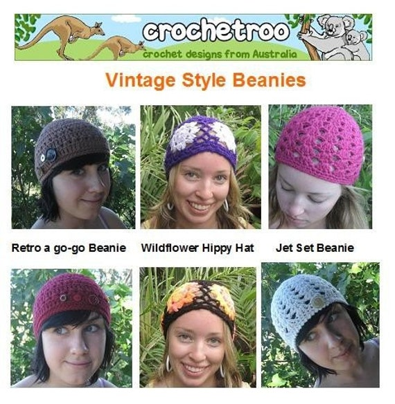 Vintage Style Beanies - crochet patterns